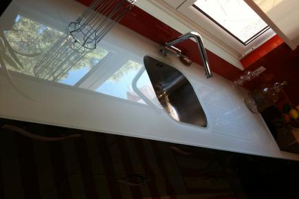 Plan de travail verre pour votre cuisine et salle de bain for Plan de travail en verre